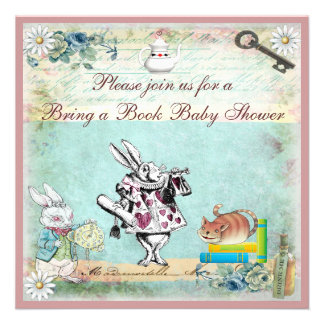 Bring a Book Alice Cheshire Cat Baby Shower Announcement