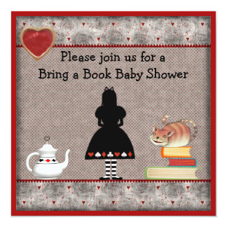 "Bring a Book Alice & Cheshire Cat Baby Shower 5.25"" Square Invitation Card"