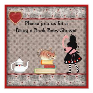 """Bring a Book Alice, Flamingo & Cheshire Cat Shower 5.25"""" Square Invitation Card"""
