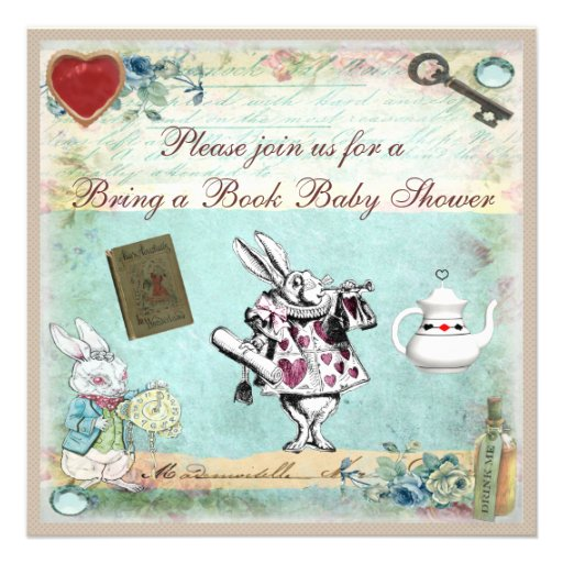 Bring a Book Alice in Wonderland Baby Shower Custom Announcement