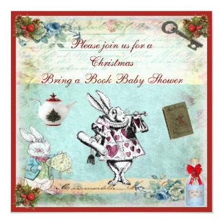 Bring a Book Alice in Wonderland Xmas Baby Shower 13 Cm X 13 Cm Square Invitation Card