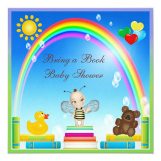 Bring a Book Baby Bee & Rainbow Baby Shower 13 Cm X 13 Cm Square Invitation Card
