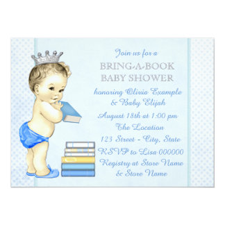 """Bring A Book Baby Shower 5.5"""" X 7.5"""" Invitation Card"""