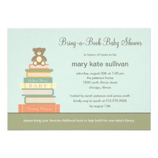 Bring A Book Baby Shower Invitation Blue Custom Invitation