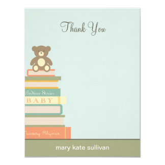 Bring A Book Baby Shower Thank You Cards (Blue) 11 Cm X 14 Cm Invitation Card