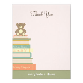 "Bring A Book Baby Shower Thank You Cards (Pink) 4.25"" X 5.5"" Invitation Card"