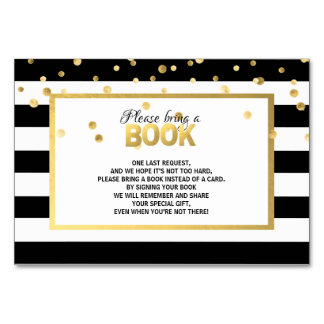 Bring a Book - Black White Baby Shower Cards
