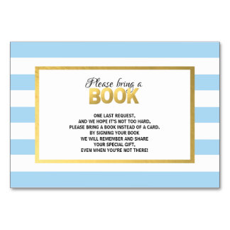 Bring a Book - Blue White Baby Shower Cards