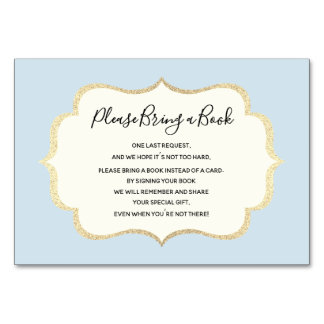 Bring a Book - Blue White BOY Baby Shower Cards