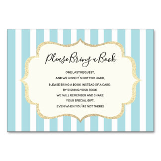 Bring a Book - Blue White Stripes BOY Baby Shower Card