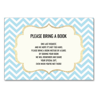 Bring a Book - Chevron Blue BOY Baby Shower Cards