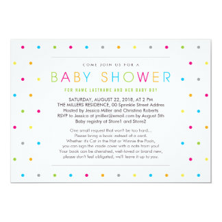 Bring a Book Color Dots Clean Baby Shower Invite