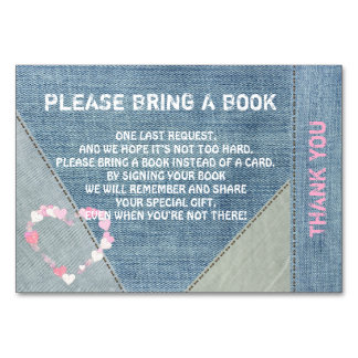 Bring a Book - Denim/Jeans Baby Shower Cards