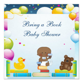 Bring a Book Ethnic Boy & Cupcakes Baby Shower 13 Cm X 13 Cm Square Invitation Card