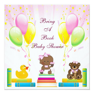 Bring a Book Ethnic Girl & Cupcakes Baby Shower Card