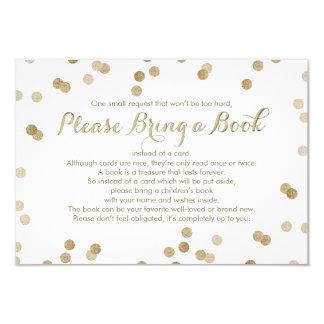 Bring a Book Faux Gold Confetti Modern Insert Card 9 Cm X 13 Cm Invitation Card