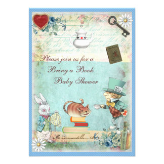 Bring a Book Mad Hatter Cheshire Cat Baby Shower Invites