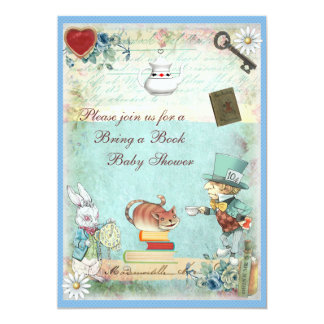 Bring a Book Mad Hatter & Cheshire Cat Baby Shower 13 Cm X 18 Cm Invitation Card