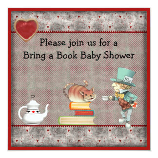 """Bring a Book Mad Hatter & Cheshire Cat Baby Shower 5.25"""" Square Invitation Card"""