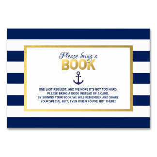 Bring a Book Navy Blue Nautical Baby Shower Cards