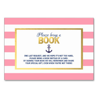 Bring a Book Navy Blue Pink Nautical Baby Shower Card