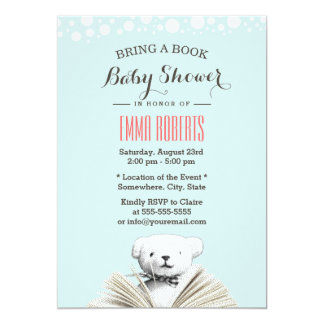 Bring a Book Teddy Bear Baby Shower Invitations