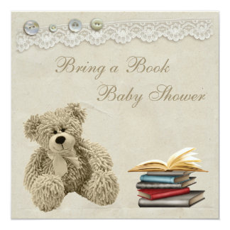 Bring a Book Teddy Vintage Lace Baby Shower 13 Cm X 13 Cm Square Invitation Card