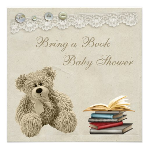 Bring a Book Teddy Vintage Lace Baby Shower Personalized Invitations