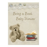 Bring a Book Teddy Vintage Lace Print Baby Shower Personalized Announcement