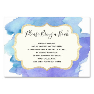 Bring a Book - Watercolor Blue BOY Baby Shower Card