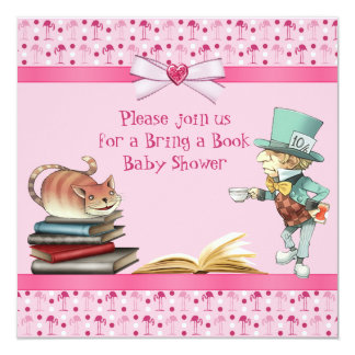 Bring a Book Wonderland Flamingos Baby Shower Card
