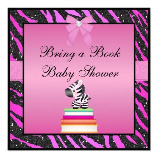 bring a book zebra animal print baby shower 13 cm x 13 cm square