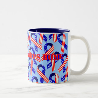 Bring Our Troops Home USA Ribbons Two-Tone Mug