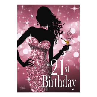 Bring the Bling Sparkle 21st Birthday | mauve 13 Cm X 18 Cm Invitation Card