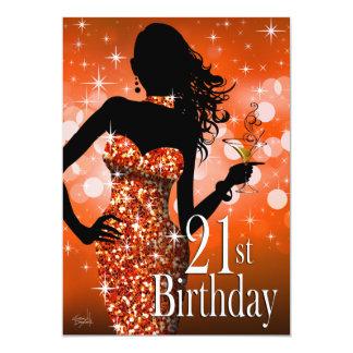 Bring the Bling Sparkle 21st Birthday | orange 13 Cm X 18 Cm Invitation Card