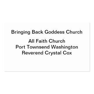 Bringing Back Goddess Church Pack Of Standard Business Cards