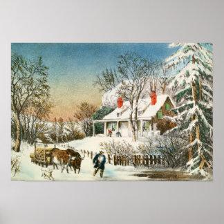 Bringing Home the Logs, Winter Landscape Poster