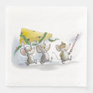 Bringing In The Christmas Cheese Paper Napkin
