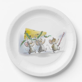 Bringing In The Christmas Cheese Paper Plate