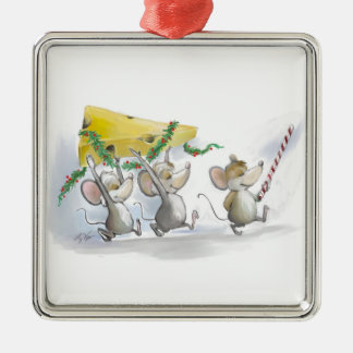 Bringing In The Christmas Cheese Square Ornament