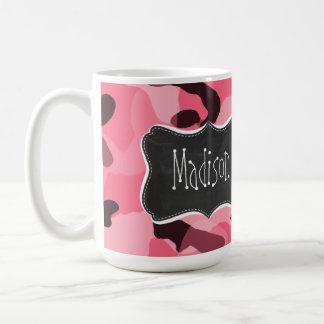 Brink Pink Camo; Camouflage; Retro Chalkboard Basic White Mug