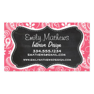 Brink Pink Paisley; Daisy Business Card Templates