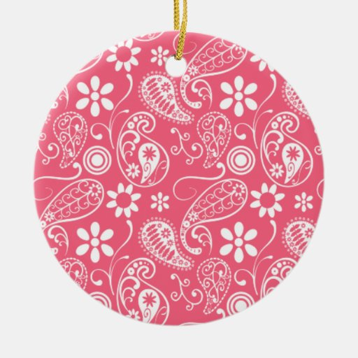 Brink Pink Paisley; Floral Christmas Tree Ornament