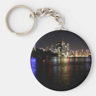 Brisbane at Night Basic Round Button Key Ring