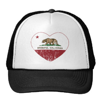 Brisbane California Republic Heart Distressed Hats
