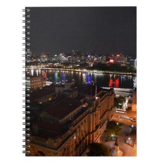 BRISBANE CITY AT NIGHT QUEENSLAND AUSTRALIA NOTEBOOK