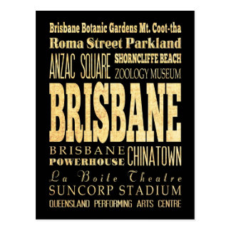 Brisbane City of Australia Typography Art Postcard