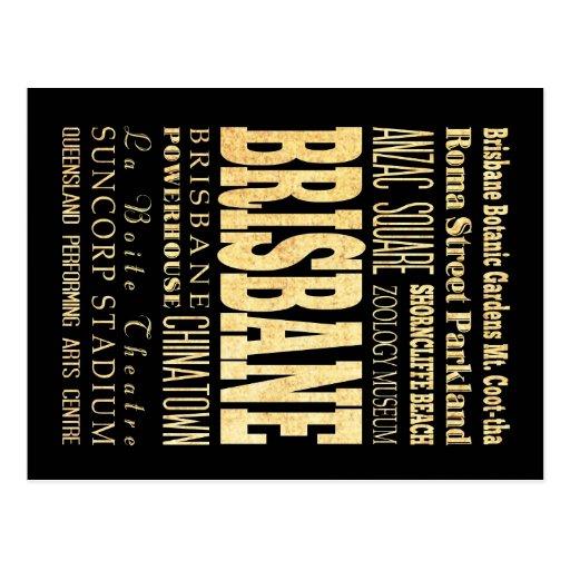 Brisbane City of Australia Typography Art Post Card