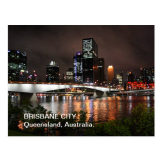 Brisbane River City at Night Postcard