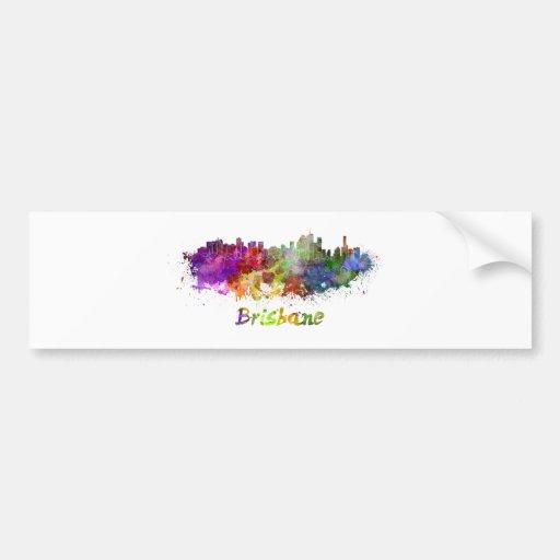 Brisbane skyline in watercolor splatters bumper stickers